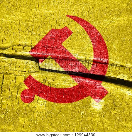 Communist sign with red and yellow colors