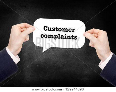 Customer complaints written on a speechbubble