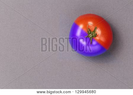 Top view popart tomato on black and white background. Pop art style tomato. Tomato purple and red color on grey background.