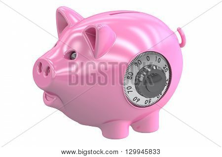 Green piggy bank 3D rendering isolated on white background