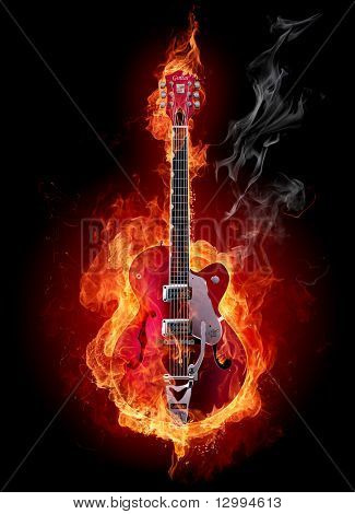 Fire Electric Guitar. Look At Other Fire Illustrations In My Portfolio: Burning Letters, Flowers, G