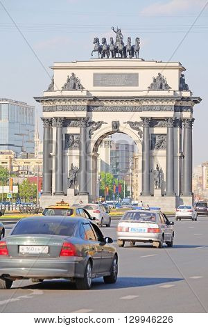 Moscow, Russia - May, 11, 2016:  triumphal arch on the kutuzovsky prospectus  in Moscow, Russia