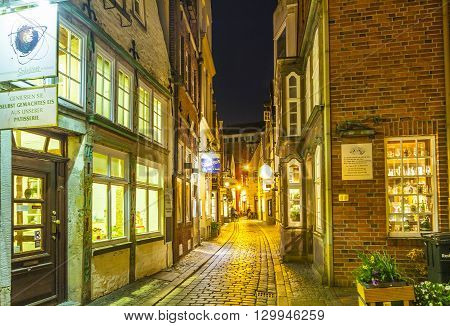 Schnoor Street By Night In Bremen