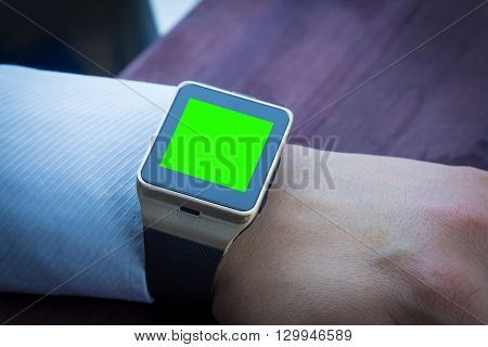 Business Man Using His Smartwatch App, New Technology Concept