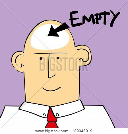 Vector illustration of a a man or boy with the word empty and an arrow pointing to his head