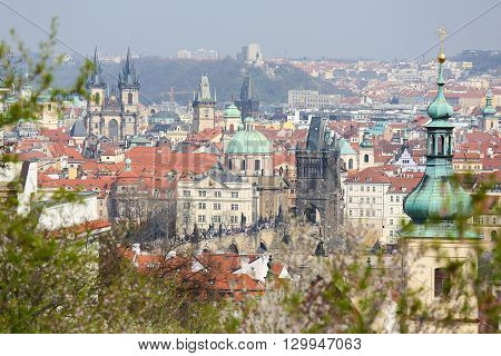 View on the old center of Prague Czech Republic with the Church of Our Lady before Tyn and the St Nicholas Church