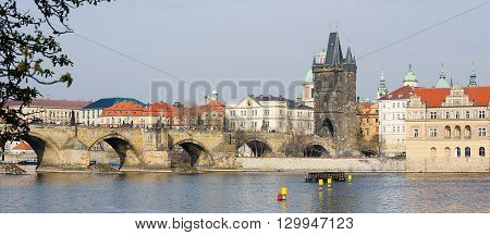 Charles Bridge And The Old Bridge Tower In Prague, Czech Republic
