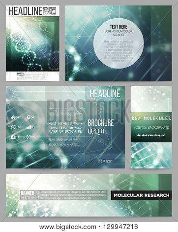 Set of business templates for presentation, brochure, flyer or booklet. DNA molecule structure on dark geen background. Science vector background.