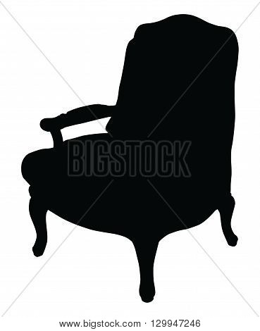Silhouette of the classic chair, vector icon illustration of chair
