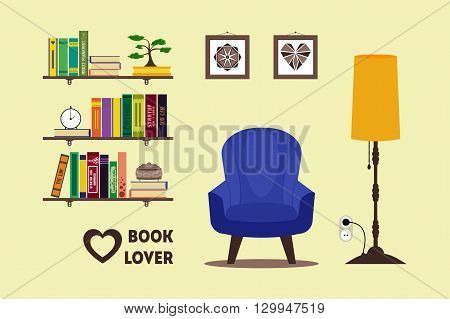 Flat library room interior with armchair floor lamp bookshelves bonsai pictures. Home comfortable book lover decor concept. Booklover card poster banner flyer brochure. Vector furniture set