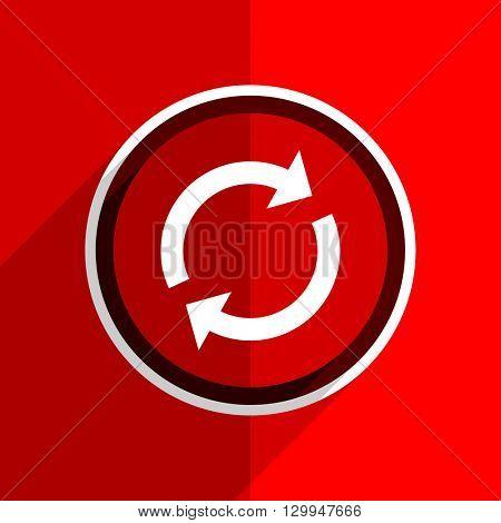 red flat design reload web modern icon