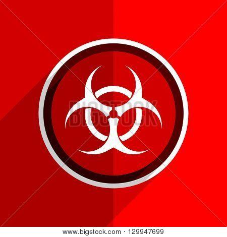 red flat design biohazard web modern icon