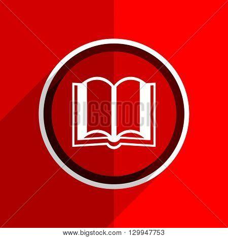 red flat design book web modern icon