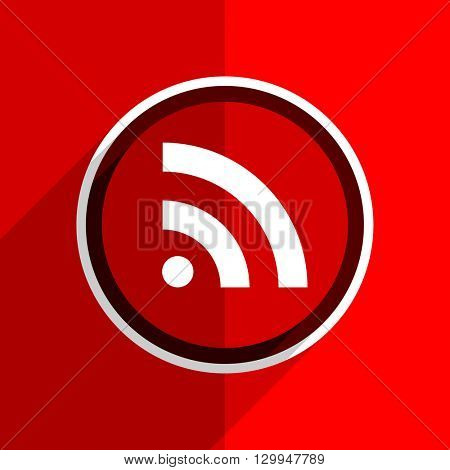 red flat design rss web modern icon
