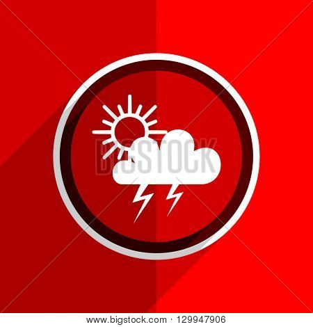 red flat design storm web modern icon