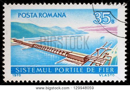 ZAGREB, CROATIA - JULY 18: a stamp printed in the Romania shows Aerial View of Iron Gate Power Station, Hydroelectric Plant at the Iron Gate of the Danube,circa 1970, on July 18, 2012, Zagreb, Croatia