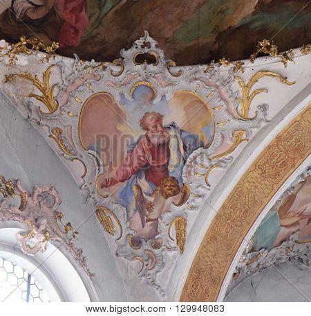ZIEMETSHAUSEN, GERMANY - JUNE 09: Saint Mark the Evangelist, fresco in the Maria Vesperbild Church in Ziemetshausen, Germany on June 09, 2015.