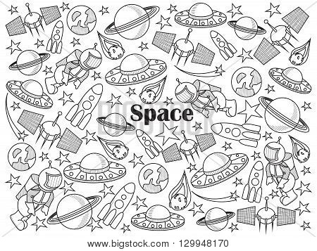 Space design colorless set vector illustration. Coloring book. Black and white line art