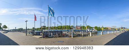 Ships And Promenade At River Weser In Bremen