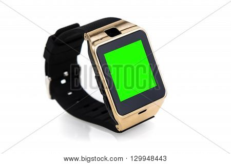 Smartwatch Isolated On White Background With Chroma Key Green Screen