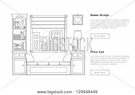 Line flat room illustration with window and shelves. Place for reading and studying. Flyer banner card web site element. Interior design for corporate marketing. Vector flat design.