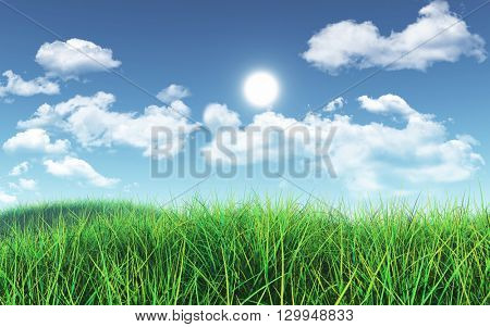 3D render of a grassy landscape against a blue sky with fluffy white clouds