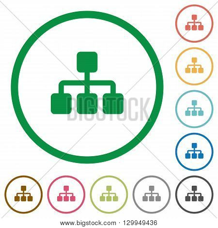 Set of network color round outlined flat icons on white background
