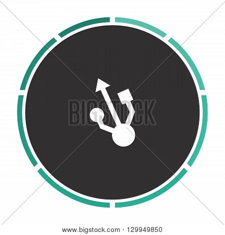 usb Simple flat white vector pictogram on black circle. Illustration icon