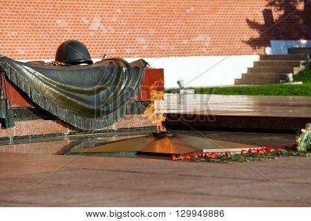 Eternal flame in Alexander's garden in Moscow, Russia