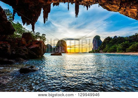 Tropical holidays  beach vacation in Thailand tourism concept - Pranang beach on sunset. Railay , Krabi Province Thailand