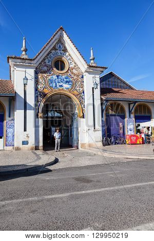 Santarem, Portugal. September 10, 2015: One of the entrances of the Fresh Food or Farmers Market with the typical Portuguese blue tiles called azulejos.