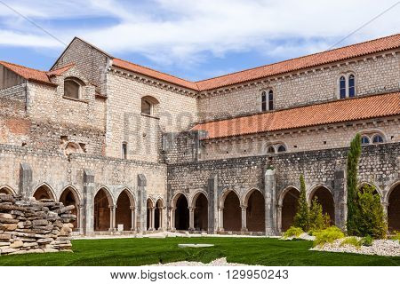 Santarem, Portugal. September 9, 2015: Cloister of the Sao Francisco Convent. 13th century Mendicant Gothic Architecture. Franciscan Religious Order.