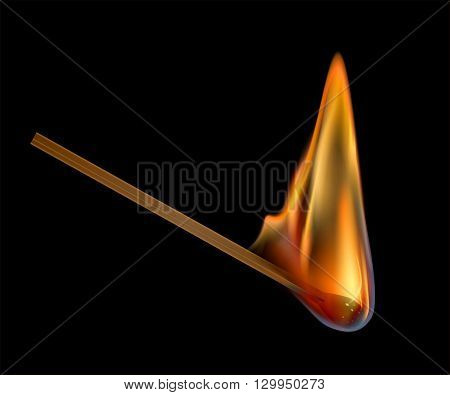 Image of flaming match on black background