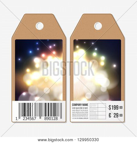 Vector tags design on both sides, cardboard sale labels with barcode. Firework, blurry background with bokeh effect.