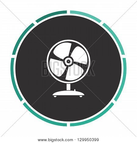 Fan Simple flat white vector pictogram on black circle. Illustration icon