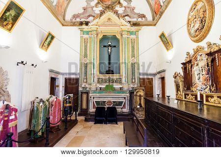 Santarem, Portugal. September 11, 2015:  Sacristy of the Misericordia church. 16th century Hall-Church in late Renaissance Architecture. Santarem, Portugal.