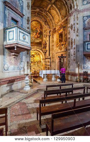 Santarem, Portugal. September 11, 2015: Interior of the Nossa Senhora da Piedade Church. 17th century Mannerist architecture.