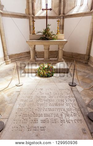 Santarem, Portugal. September 11, 2015: Pedro Alvares Cabral tomb, the navigator discoverer of Brazil, in Santo Agostinho da Graca church. 14th and 15th century Mendicant and Flamboyant Gothic.