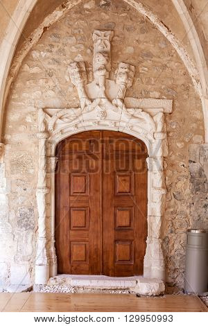Santarem, Portugal. September 10, 2015: Manueline Portal in the Sao Francisco Convent. 13th century Mendicant Gothic Architecture. Franciscan Religious Order.