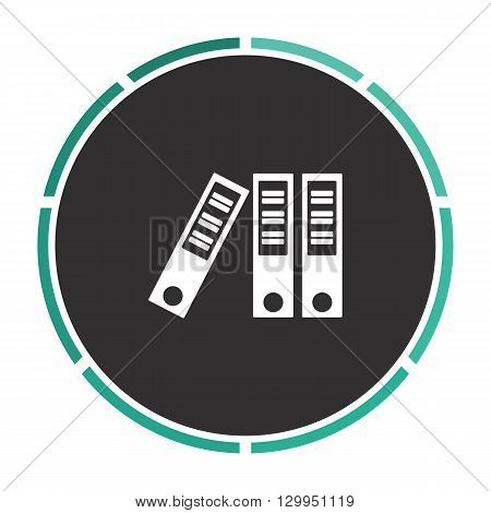 binders Simple flat white vector pictogram on black circle. Illustration icon