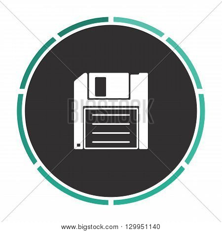 Floppy disk Simple flat white vector pictogram on black circle. Illustration icon