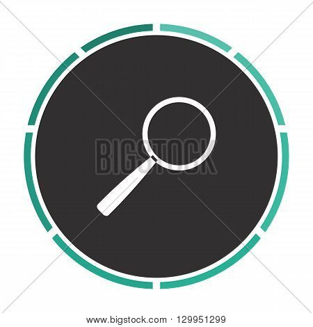 Magnify Simple flat white vector pictogram on black circle. Illustration icon