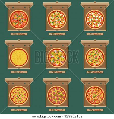 Pizzas in the opened cardboard boxes. Vector flat pizzas with different ingredients.