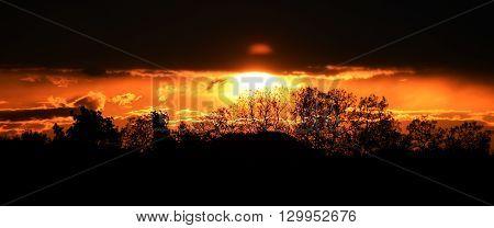 Sunset in Mseno village in central Bohemia