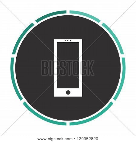 cellphone Simple flat white vector pictogram on black circle. Illustration icon