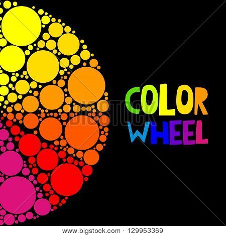 Color wheel palett or color circle on black background. The physical representation of color transitions and HSB.