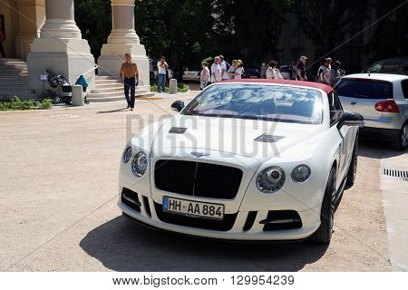Nice France - May 15 2016: White Continental GT Mansory Parked in Front of the Nice Orthodox Church