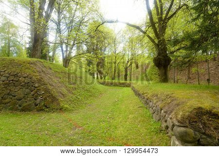 Spring landscape in park in the fortress of Lappeenranta Finland.
