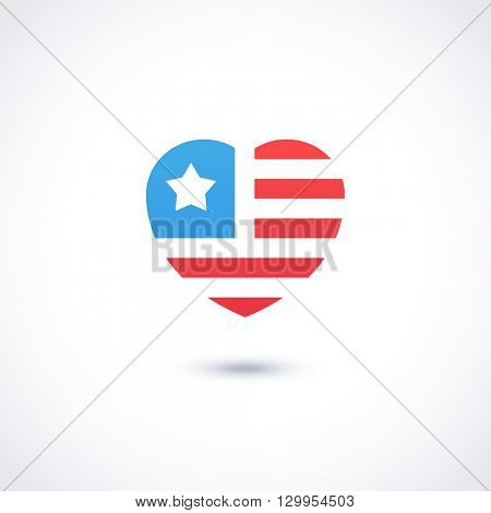 Logo template. American logotype design. USA flag with stars and stripes. Vector illustration.