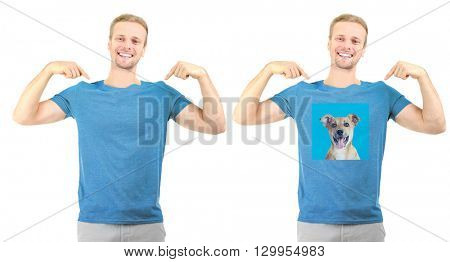 T-shirt design concept - man in blank white t-shirt and man in t-shirt with print of his dog